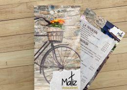 Diseño de tarjetas para restaurante Matiz en Valencia